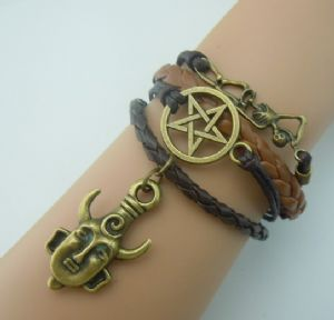 Supernatural leather and charm bracelet, dark chocolate brown and tan leather, corded, skeleton, pentagram, pendant supernatural charms